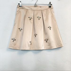 NWT The Limited satin pink pleated a-line skirt